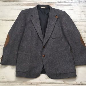 Stafford Wool Sport Coat Elbow Patches Blue 44R
